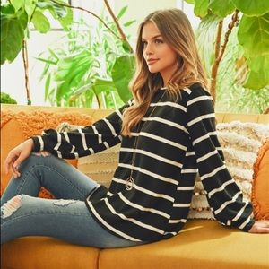 Black White Striped Puff Sleeve Sweater Shirt 321